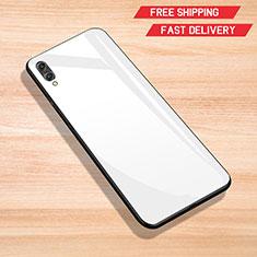Huawei Y7 (2019)用ハイブリットバンパーケース プラスチック 鏡面 カバー ファーウェイ ホワイト