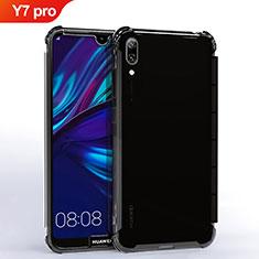 Huawei Y7 (2019)用極薄ソフトケース シリコンケース 耐衝撃 全面保護 クリア透明 H02 ファーウェイ ブラック