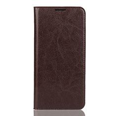 Huawei Y7 (2019)用手帳型 レザーケース スタンド カバー L04 ファーウェイ ブラウン