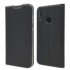 Huawei Y7 (2019)用手帳型 レザーケース スタンド カバー L06 ファーウェイ ブラック