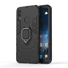 Huawei Y7 (2019)用ハイブリットバンパーケース スタンド プラスチック 兼シリコーン カバー マグネット式 ファーウェイ ブラック