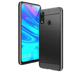 Huawei Y7 (2019)用シリコンケース ソフトタッチラバー ライン カバー ファーウェイ ブラック