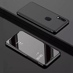Huawei Y7 (2019)用手帳型 レザーケース スタンド 鏡面 カバー ファーウェイ ブラック