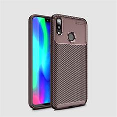 Huawei Y7 (2019)用シリコンケース ソフトタッチラバー ツイル カバー ファーウェイ ブラウン