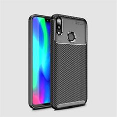 Huawei Y7 (2019)用シリコンケース ソフトタッチラバー ツイル カバー ファーウェイ ブラック
