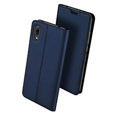 Huawei Y7 Prime (2019)用手帳型 レザーケース スタンド カバー ファーウェイ ネイビー