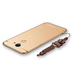 Huawei Y7 Prime用ケース 高級感 手触り良い メタル兼プラスチック バンパー 亦 ひも ファーウェイ ゴールド