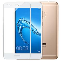 Huawei Y7 Prime用強化ガラス フル液晶保護フィルム F02 ファーウェイ ホワイト