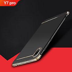 Huawei Y7 Pro (2019)用ケース 高級感 手触り良い メタル兼プラスチック バンパー M01 ファーウェイ ブラック