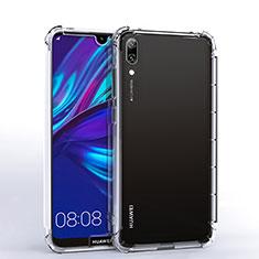 Huawei Y7 Pro (2019)用極薄ソフトケース シリコンケース 耐衝撃 全面保護 クリア透明 H02 ファーウェイ クリア