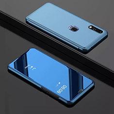 Huawei Y7 Pro (2019)用手帳型 レザーケース スタンド 鏡面 カバー ファーウェイ ネイビー