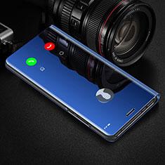 Huawei Y7p用手帳型 レザーケース スタンド 鏡面 カバー L02 ファーウェイ ネイビー