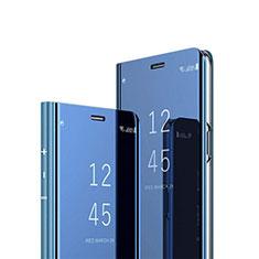 Huawei Y7p用手帳型 レザーケース スタンド 鏡面 カバー L01 ファーウェイ ネイビー