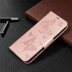Huawei Y7p用手帳型 レザーケース スタンド カバー L03 ファーウェイ ローズゴールド