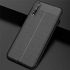 Huawei Y8p用ケース 高級感 手触り良いレザー柄 S01 ファーウェイ ブラック
