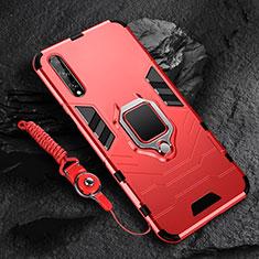 Huawei Y8p用ハイブリットバンパーケース プラスチック アンド指輪 マグネット式 S01 ファーウェイ レッド