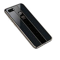 Huawei Y9 (2018)用ハイブリットバンパーケース プラスチック 鏡面 カバー ファーウェイ ブラック
