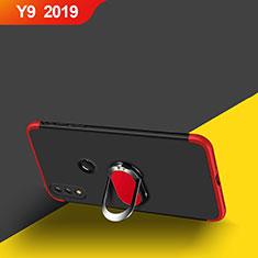 Huawei Y9 (2019)用ハードケース プラスチック 質感もマット 前面と背面 360度 フルカバー アンド指輪 マグネット式 ファーウェイ レッド・ブラック