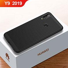 Huawei Y9 (2019)用ハードケース プラスチック メッシュ デザイン カバー ファーウェイ ブラック