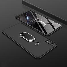 Huawei Y9 (2019)用ハードケース プラスチック 質感もマット 前面と背面 360度 フルカバー アンド指輪 ファーウェイ ブラック