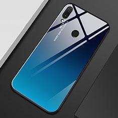 Huawei Y9 (2019)用ハイブリットバンパーケース プラスチック 鏡面 虹 グラデーション 勾配色 カバー M01 ファーウェイ ネイビー