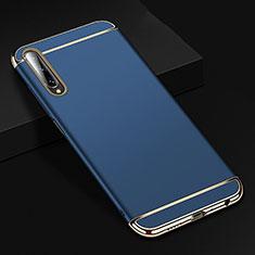Huawei Y9s用ケース 高級感 手触り良い メタル兼プラスチック バンパー M01 ファーウェイ ネイビー