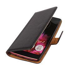 LG G Flex 2用手帳型 レザーケース LG ブラック