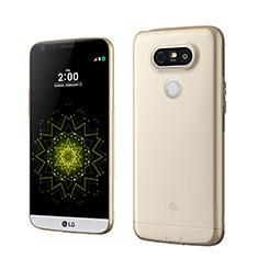 LG G5用極薄ソフトケース シリコンケース 耐衝撃 全面保護 クリア透明 LG ゴールド