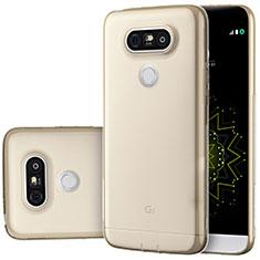 LG G5用極薄ソフトケース シリコンケース 耐衝撃 全面保護 クリア透明 T02 LG ゴールド