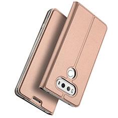 LG G6用手帳型 レザーケース スタンド LG ローズゴールド