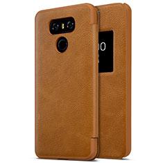 LG G6用ハードケース プラスチック レザー柄 LG ブラウン