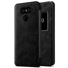 LG G6用ハードケース プラスチック レザー柄 LG ブラック
