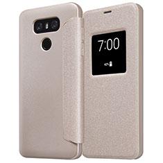 LG G6用手帳型 レザーケース スタンド L01 LG ゴールド
