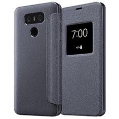 LG G6用手帳型 レザーケース スタンド L01 LG ブラック