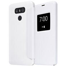 LG G6用手帳型 レザーケース スタンド L01 LG ホワイト