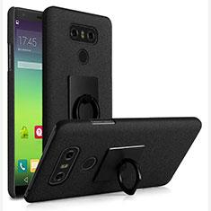LG G6用ハードケース カバー プラスチック アンド指輪 LG ブラック