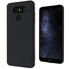 LG G6用シリコンケース ソフトタッチラバー ツイル カバー LG ブラック