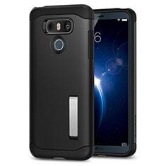 LG G6用シリコンケース ソフトタッチラバー ともにホルダー LG ブラック