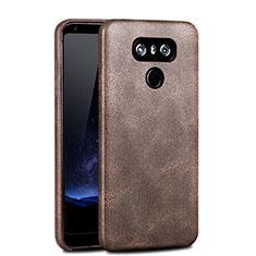 LG G6用ハードケース プラスチック レザー柄 カバー LG ブラウン