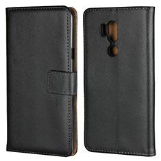 LG G7用手帳型 レザーケース スタンド LG ブラック