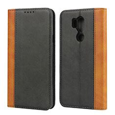 LG G7用手帳型 レザーケース スタンド カバー LG ブラック