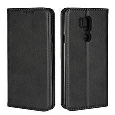 LG G7用手帳型 レザーケース スタンド カバー L02 LG ブラック