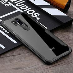 LG G7用ハイブリットバンパーケース クリア透明 プラスチック 鏡面 カバー LG ブラック