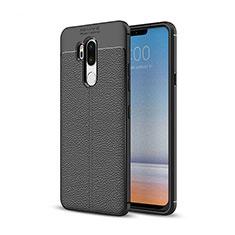 LG G7用シリコンケース ソフトタッチラバー レザー柄 LG ブラック