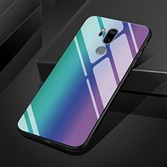 LG G7用ハイブリットバンパーケース プラスチック 鏡面 虹 グラデーション 勾配色 カバー LG ネイビー