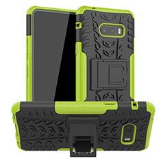 LG G8X ThinQ用ハイブリットバンパーケース スタンド プラスチック 兼シリコーン カバー LG グリーン