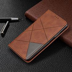 LG G8X ThinQ用手帳型 レザーケース スタンド カバー L01 LG ブラウン