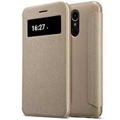 LG K10 (2017)用手帳型 レザーケース スタンド LG ゴールド