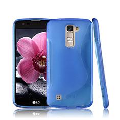 LG K10用ソフトケース S ライン クリア透明 LG ネイビー