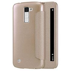 LG K10用手帳型 レザーケース スタンド LG ゴールド